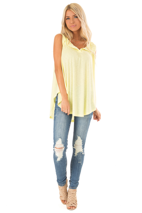 Banana Flowy Sleeveless Top with Loose Smocked Detail front full body