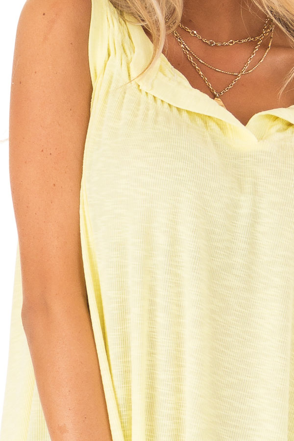 Banana Flowy Sleeveless Top with Loose Smocked Detail detail