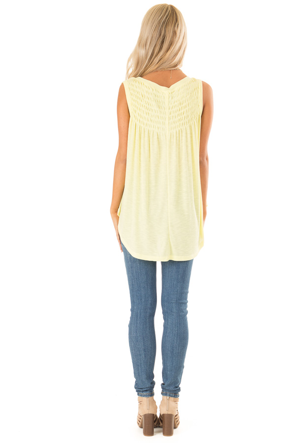 Banana Flowy Sleeveless Top with Loose Smocked Detail back full body