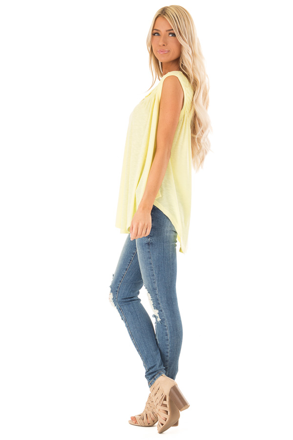 Banana Flowy Sleeveless Top with Loose Smocked Detail side full body