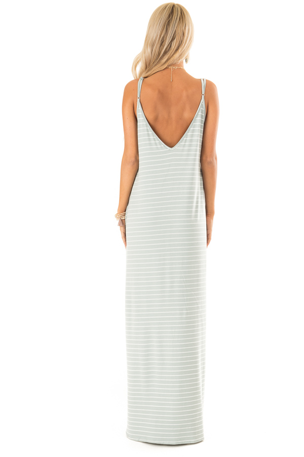 Sage and Ivory Striped Maxi Dress with Side Slits back full body