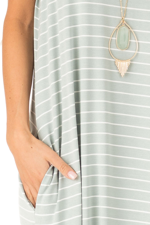 Sage and Ivory Striped Maxi Dress with Side Slits detail