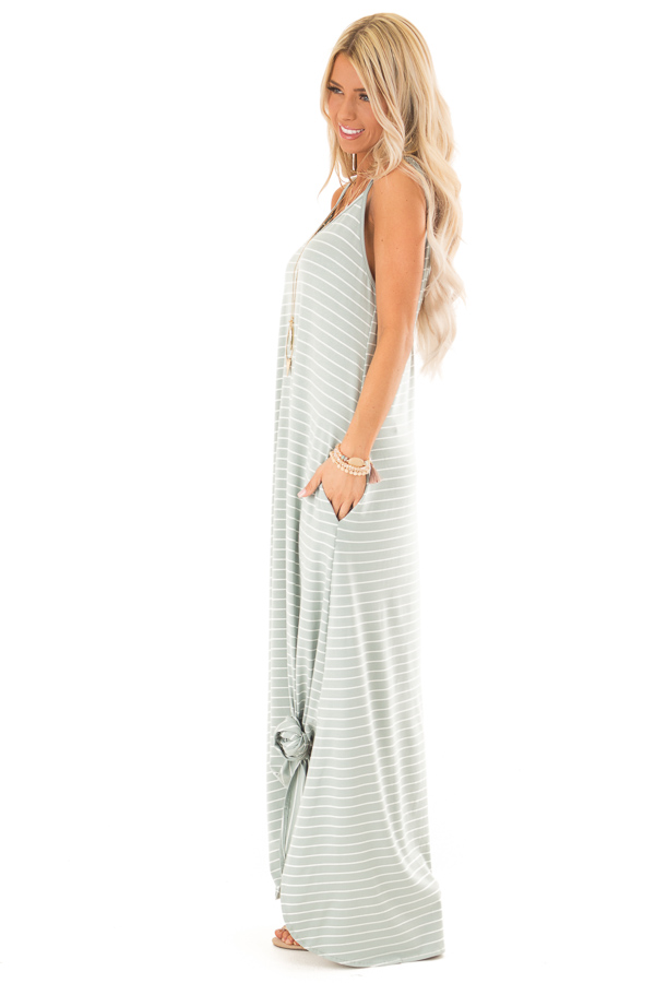 Sage and Ivory Striped Maxi Dress with Side Slits side full body