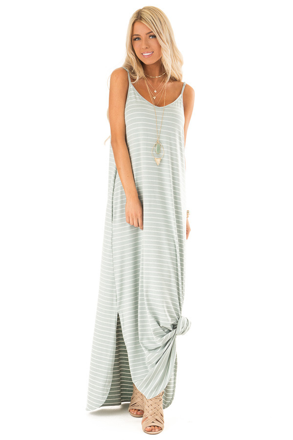 Sage and Ivory Striped Maxi Dress with Side Slits front full body