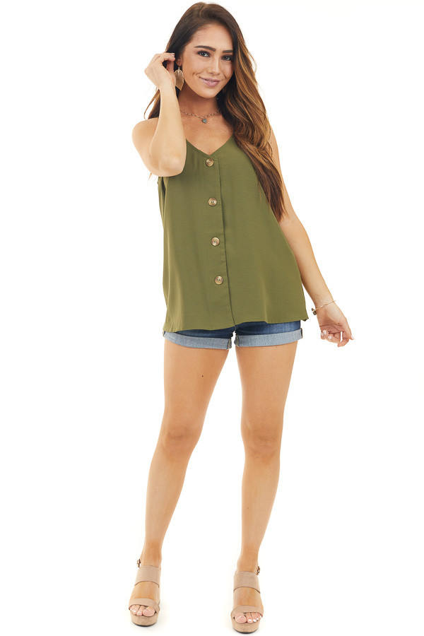 Olive Button Up V Neck Spaghetti Strap Tank Top front full body