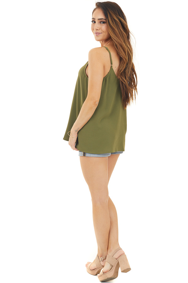 Olive Button Up V Neck Spaghetti Strap Tank Top side full body