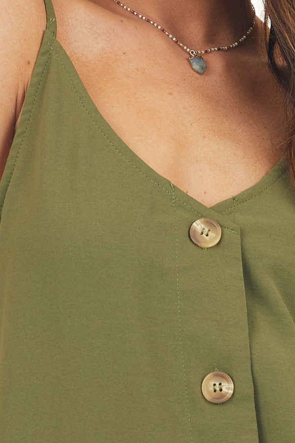 Olive Button Up V Neck Spaghetti Strap Tank Top detail
