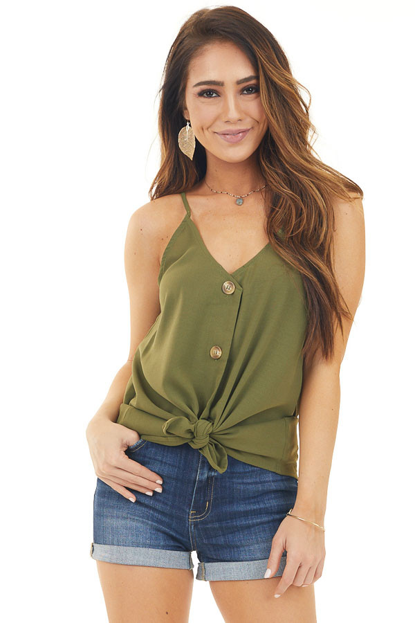 Olive Button Up V Neck Spaghetti Strap Tank Top front close up