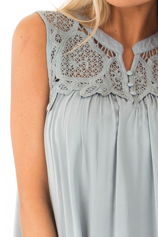 Dusty Blue Tank Top with Crochet Lace Yoke and Button Detail detail