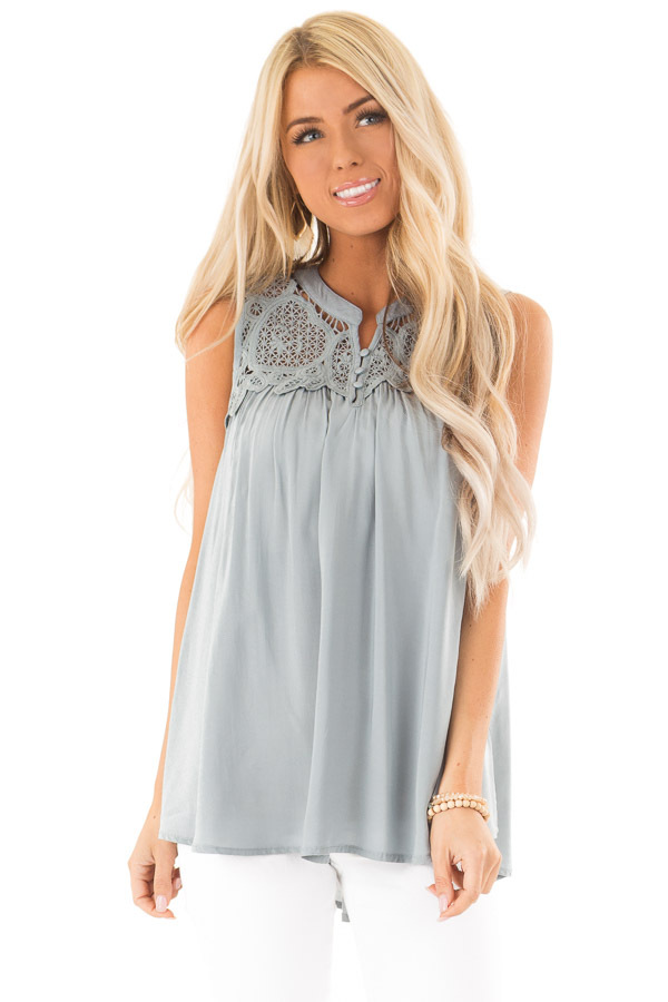 Dusty Blue Tank Top with Crochet Lace Yoke and Button Detail front close up