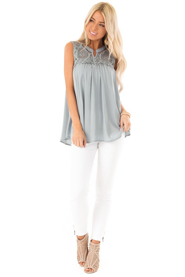 Dusty Blue Tank Top with Crochet Lace Yoke and Button Detail front full body