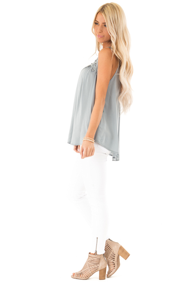 Dusty Blue Tank Top with Crochet Lace Yoke and Button Detail side full body