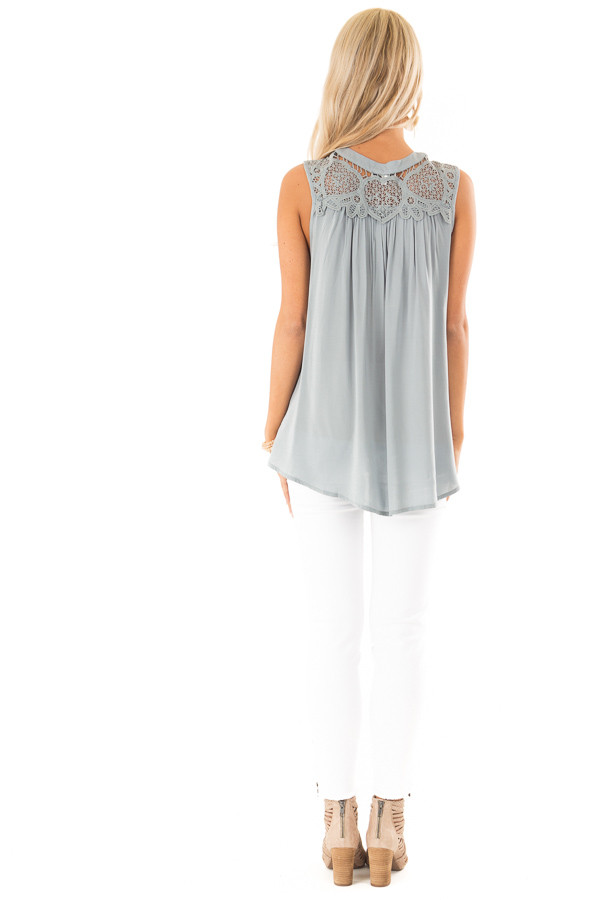 Dusty Blue Tank Top with Crochet Lace Yoke and Button Detail back full body