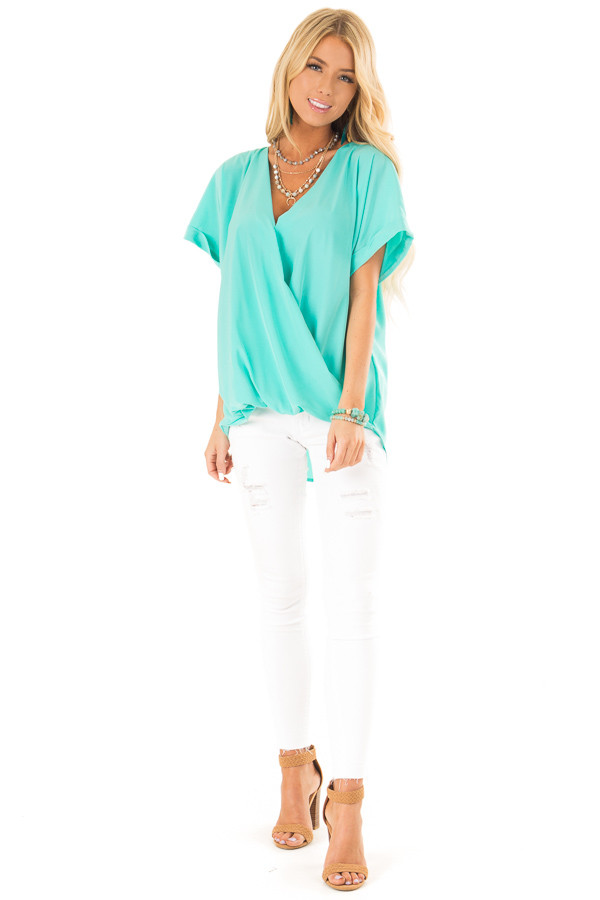 Aqua V Neck Surplice Top with Short Cuffed Sleeves front full body