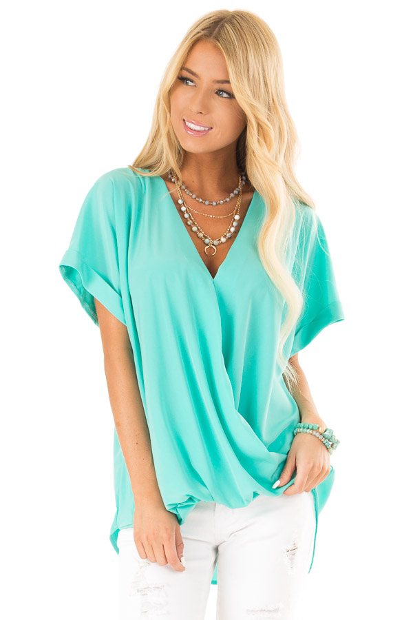 Aqua V Neck Surplice Top with Short Cuffed Sleeves front close up
