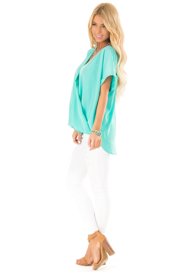 Aqua V Neck Surplice Top with Short Cuffed Sleeves side full body