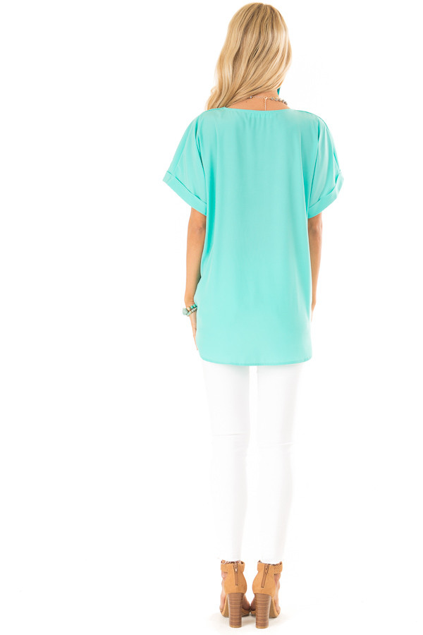 Aqua V Neck Surplice Top with Short Cuffed Sleeves back full body
