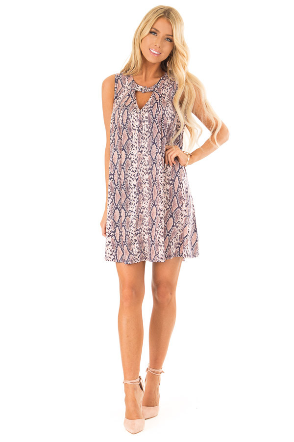 Dusty Pink and Navy Snake Print Swing Dress front full body