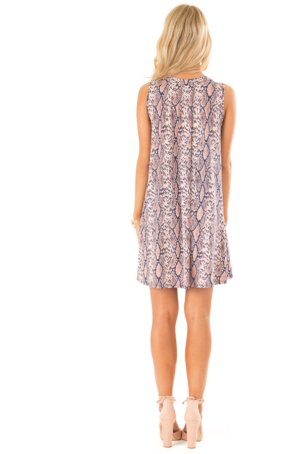 Dusty Pink and Navy Snake Print Swing Dress back full body