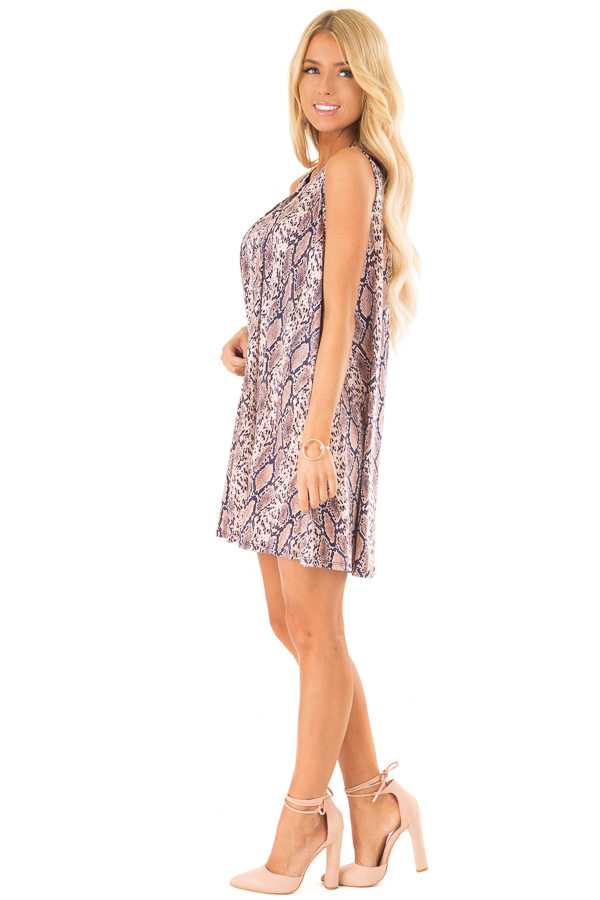 Dusty Pink and Navy Snake Print Swing Dress side full body