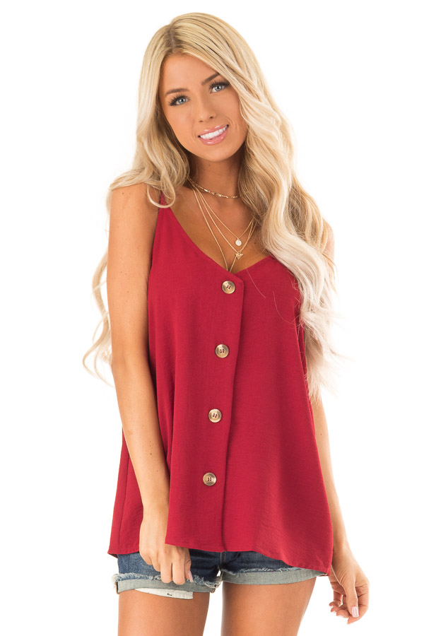 Wine Button Up V Neck Spaghetti Strap Tank Top front close up