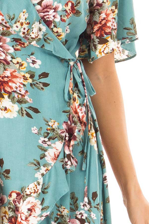 Aqua Floral Ruffled Wrap Mini Dress with Short Sleeves detail