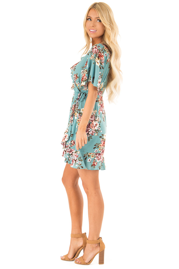 Aqua Floral Ruffled Wrap Mini Dress with Short Sleeves side full body