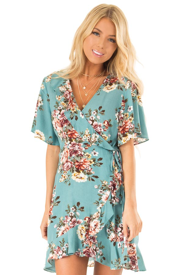 Aqua Floral Ruffled Wrap Mini Dress with Short Sleeves front close up