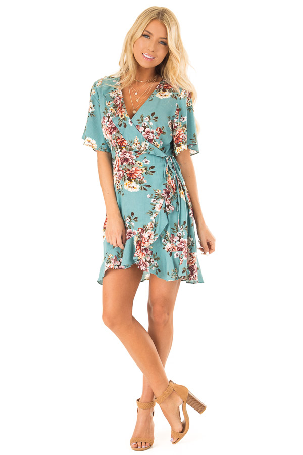 Aqua Floral Ruffled Wrap Mini Dress with Short Sleeves front full body