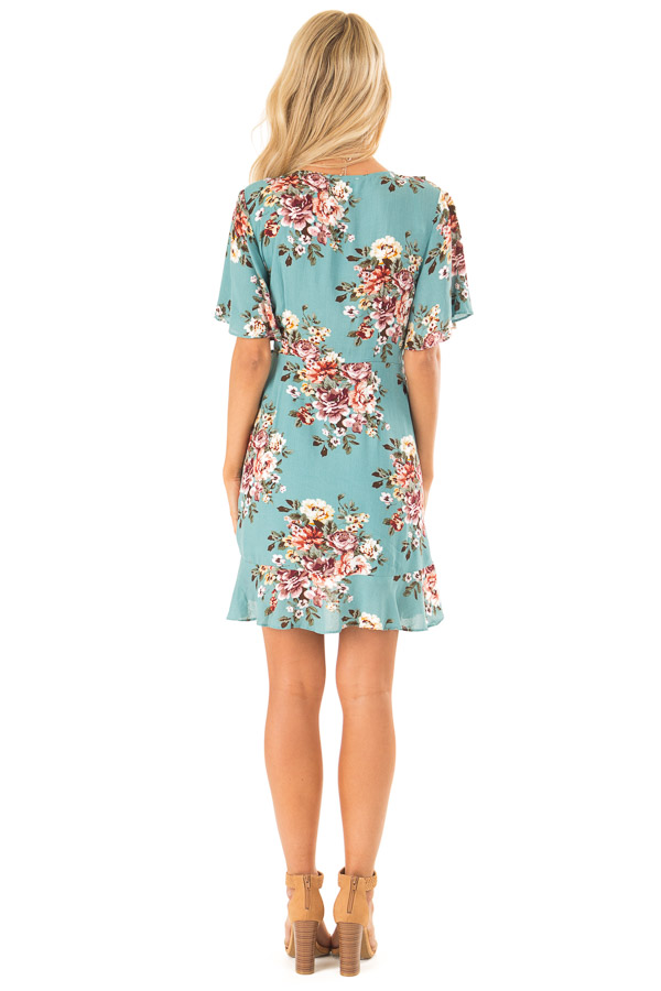 Aqua Floral Ruffled Wrap Mini Dress with Short Sleeves back full body