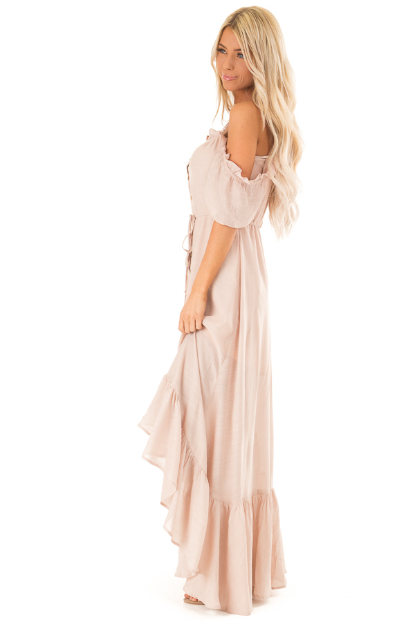 Blush Off the Shoulder High Low Ruffle Maxi Dress side full body