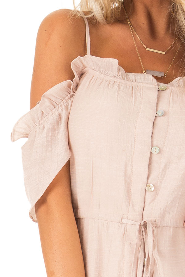 Blush Off the Shoulder High Low Ruffle Maxi Dress detail