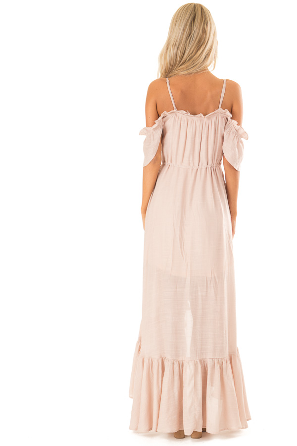 Blush Off the Shoulder High Low Ruffle Maxi Dress back full body