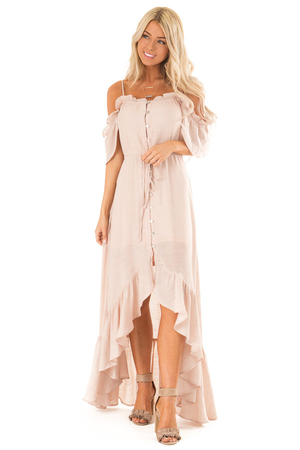 Blush Off the Shoulder High Low Ruffle Maxi Dress front full body