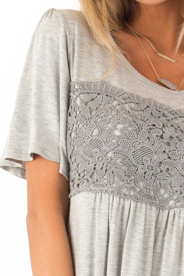 Heather Grey Short Sleeve Top with Crochet Lace Detail detail