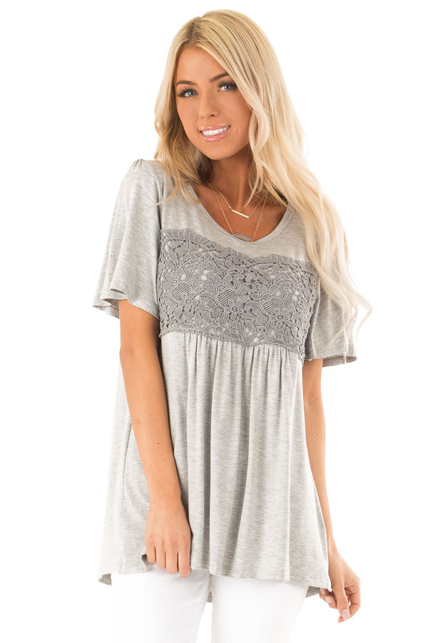 Heather Grey Short Sleeve Top with Crochet Lace Detail front close up
