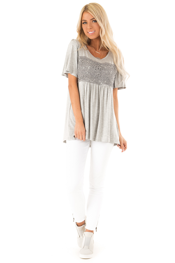 Heather Grey Short Sleeve Top with Crochet Lace Detail front full body