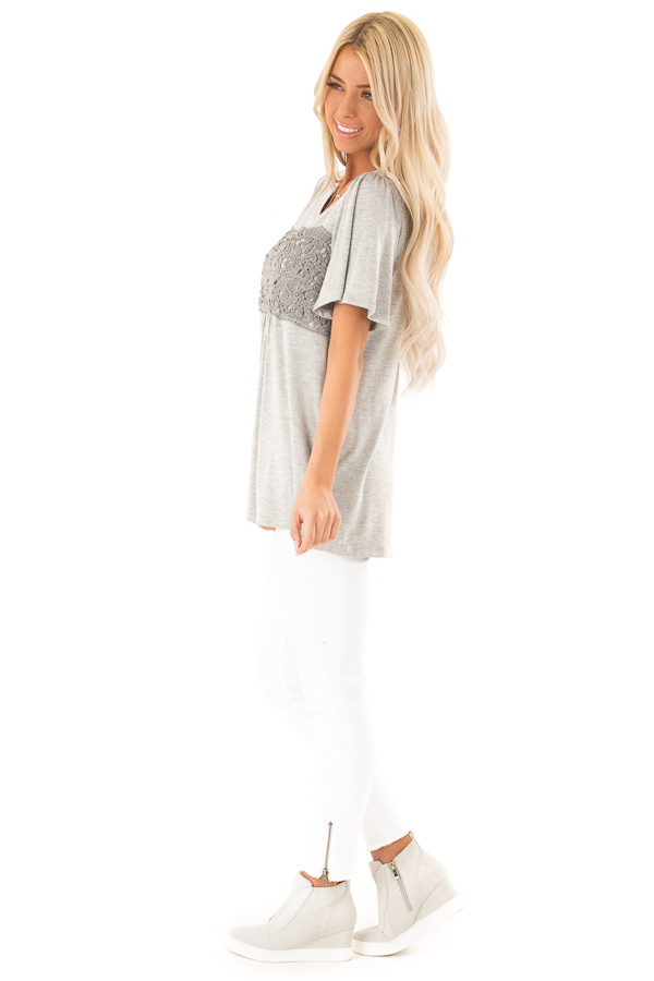 Heather Grey Short Sleeve Top with Crochet Lace Detail side full body