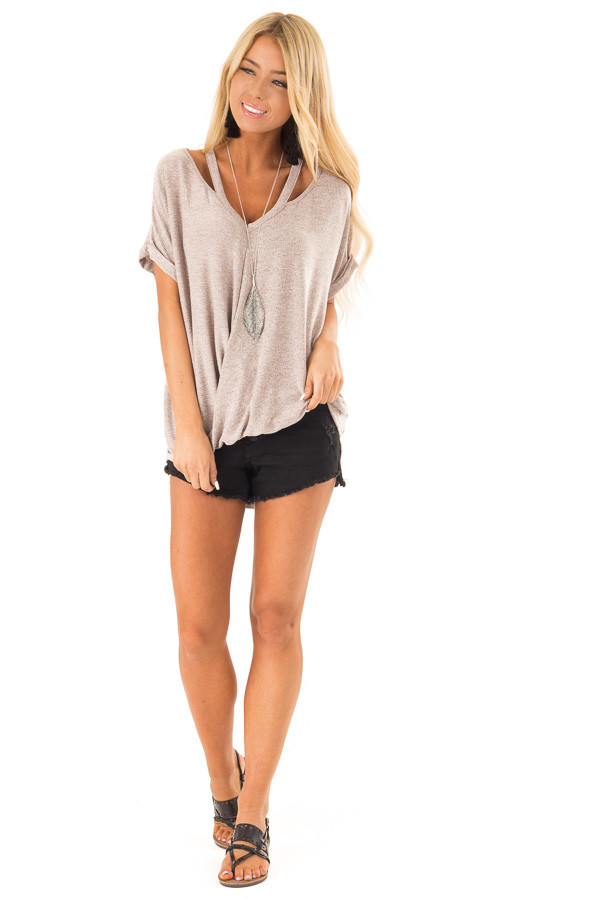 Dusty Rose Two Tone Short Sleeve Top with Twist Details front full body