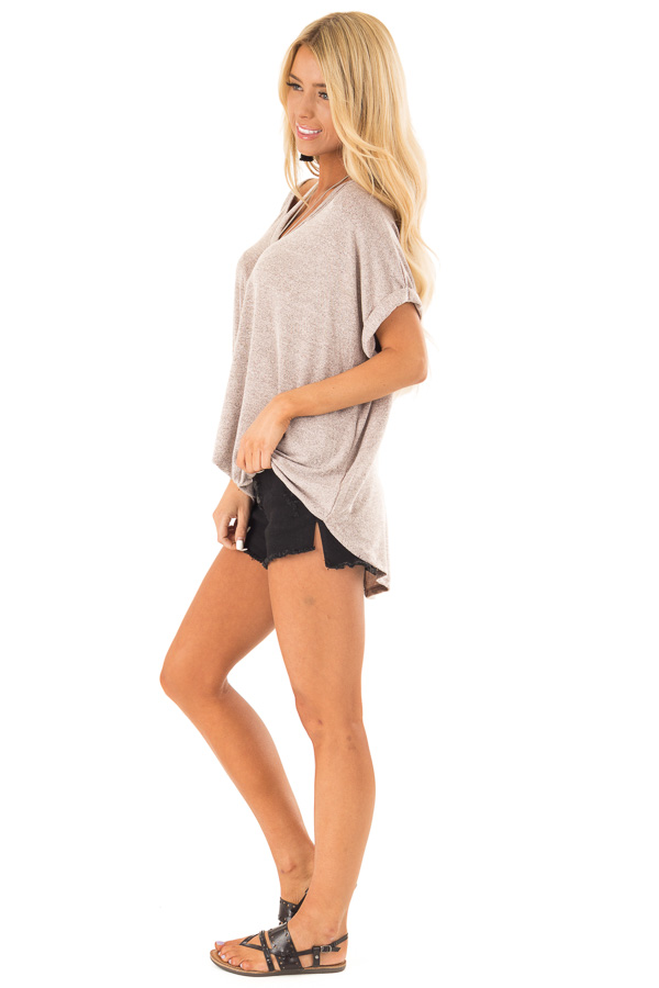 Dusty Rose Two Tone Short Sleeve Top with Twist Details side full body