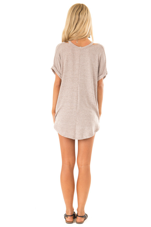 Dusty Rose Two Tone Short Sleeve Top with Twist Details back full body