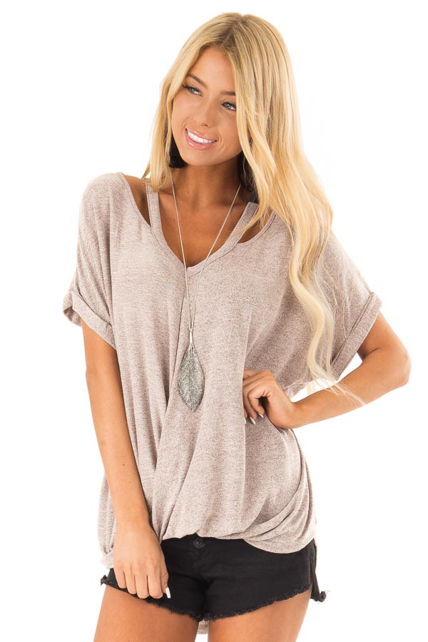 Dusty Rose Two Tone Short Sleeve Top with Twist Details front close up