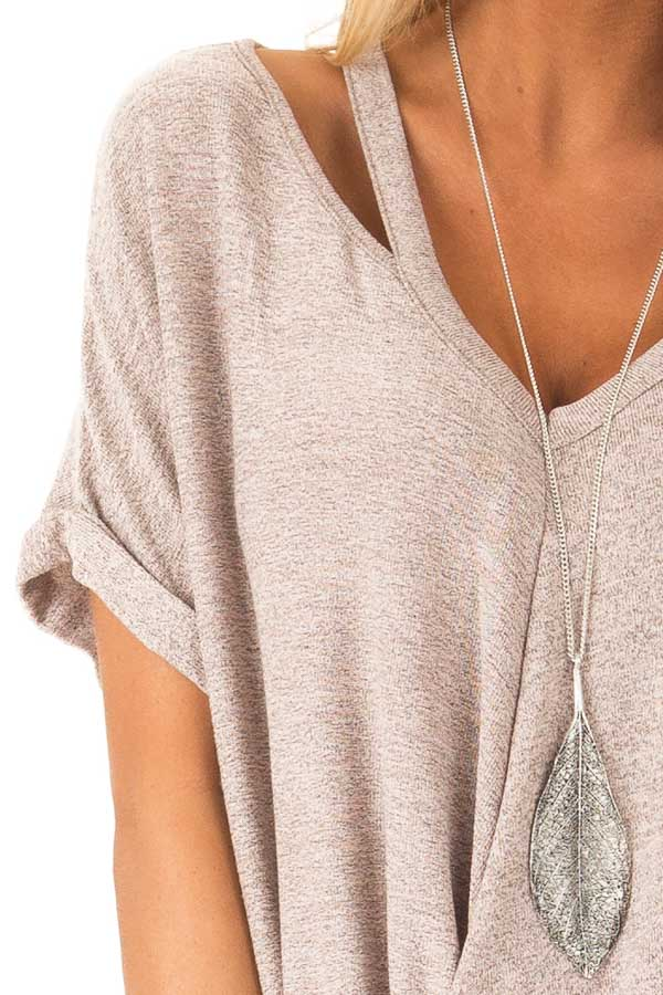 Dusty Rose Two Tone Short Sleeve Top with Twist Details detail
