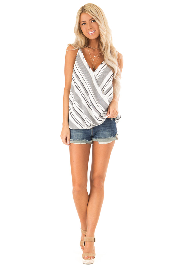 Charcoal and White Striped Bubble Hem Surplice Tank Top front full body