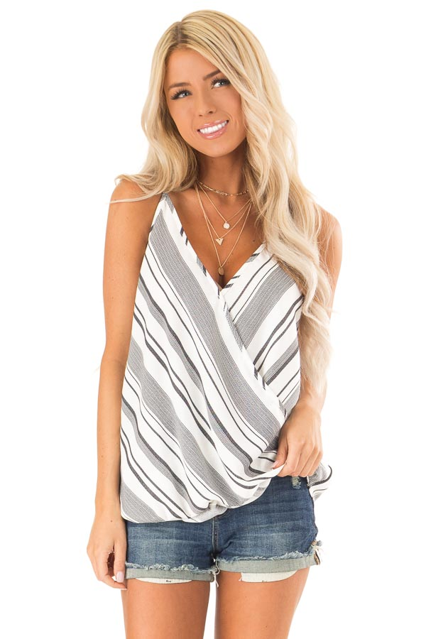 Charcoal and White Striped Bubble Hem Surplice Tank Top front close up