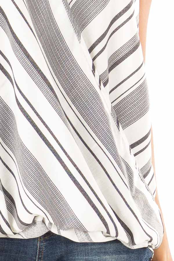 Charcoal and White Striped Bubble Hem Surplice Tank Top detail