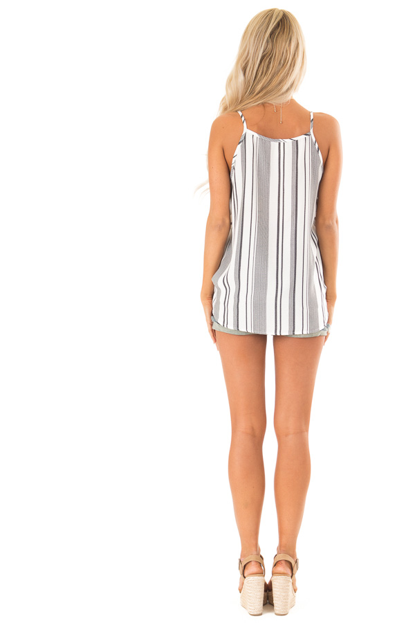 Charcoal and White Striped Bubble Hem Surplice Tank Top back full body