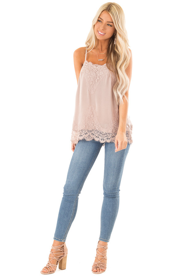 Dusty Mauve Spaghetti Strap Camisole Tank Top with Lace Trim front full body