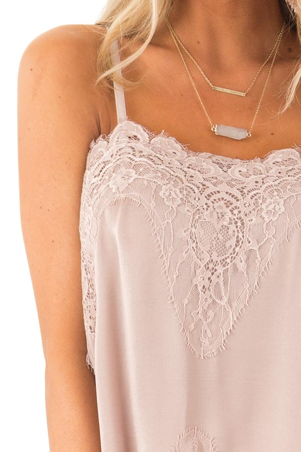 Dusty Mauve Spaghetti Strap Camisole Tank Top with Lace Trim detail