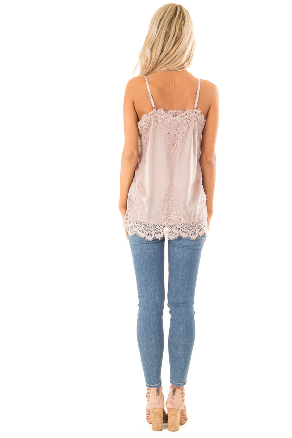 Dusty Mauve Spaghetti Strap Camisole Tank Top with Lace Trim back full body
